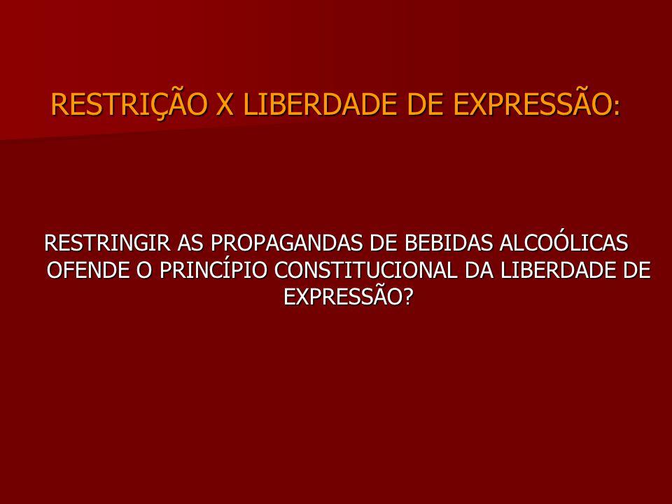 RESTRIÇÃO X LIBERDADE DE EXPRESSÃO : RESTRINGIR AS PROPAGANDAS DE BEBIDAS ALCOÓLICAS OFENDE O PRINCÍPIO CONSTITUCIONAL DA LIBERDADE DE EXPRESSÃO?