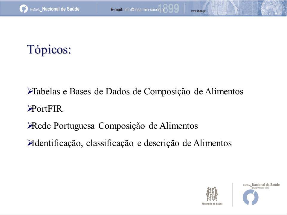 Tópicos: Tabelas e Bases de Dados de Composição de Alimentos PortFIR Rede Portuguesa Composição de Alimentos Identificação, classificação e descrição de Alimentos