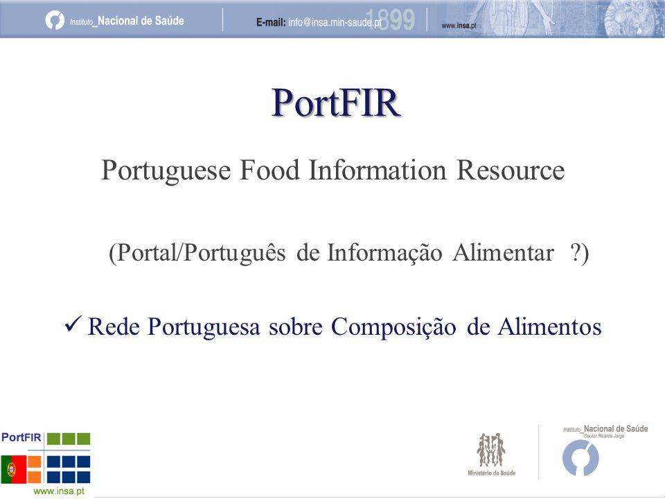 PortFIR Portuguese Food Information Resource (Portal/Português de Informação Alimentar ?) Rede Portuguesa sobre Composição de Alimentos
