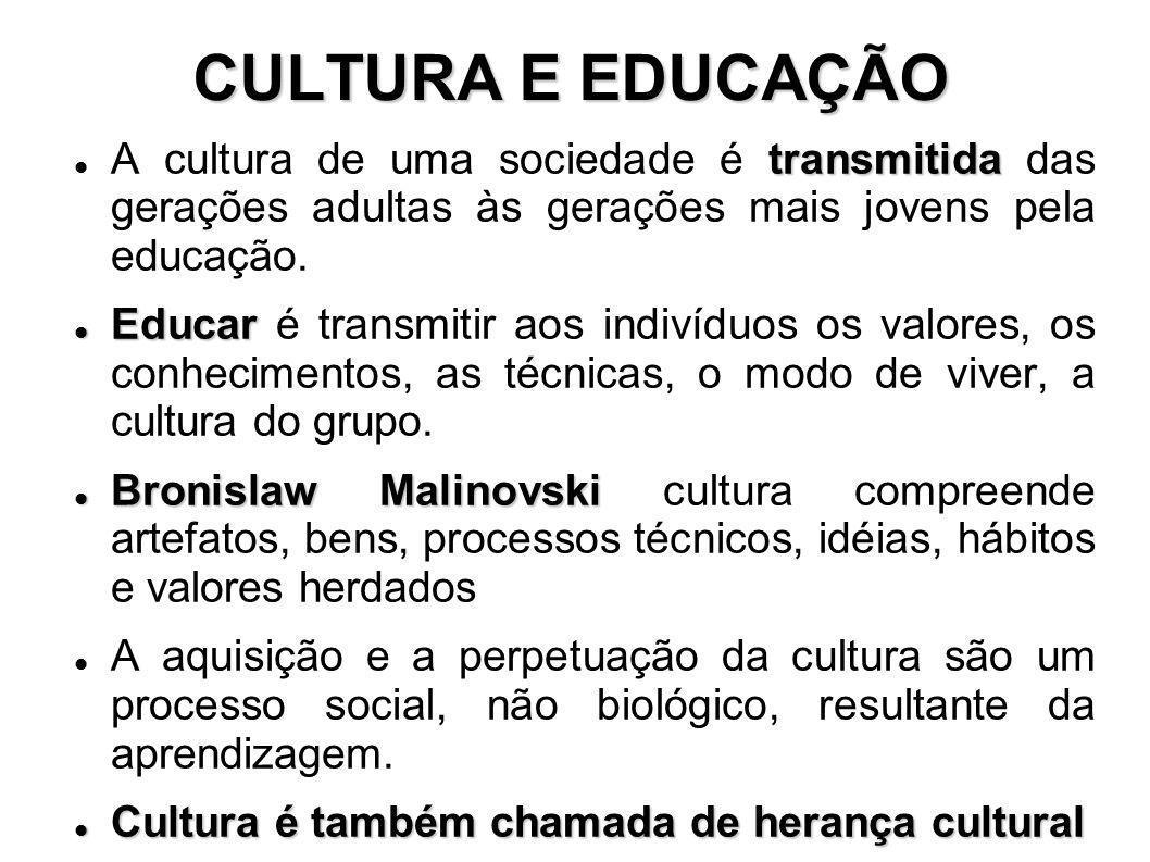 CULTURA E EDUCAÇÃO transmitida A cultura de uma sociedade é transmitida das gerações adultas às gerações mais jovens pela educação. Educar Educar é tr