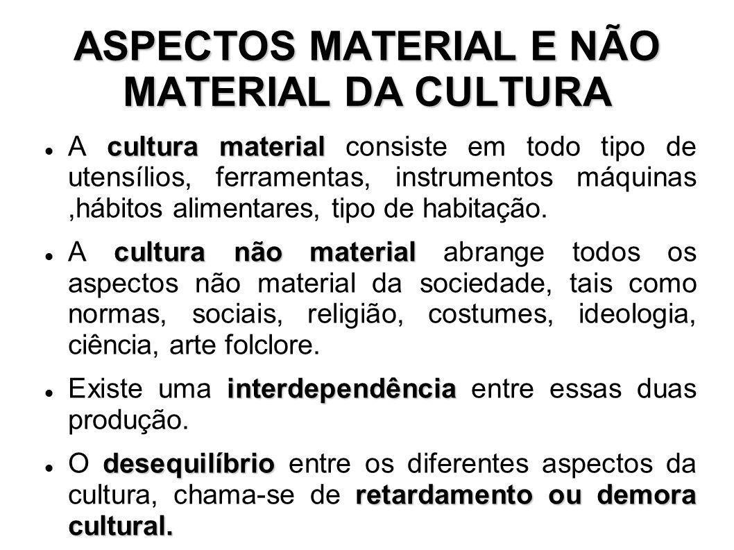 ASPECTOS MATERIAL E NÃO MATERIAL DA CULTURA cultura material A cultura material consiste em todo tipo de utensílios, ferramentas, instrumentos máquina