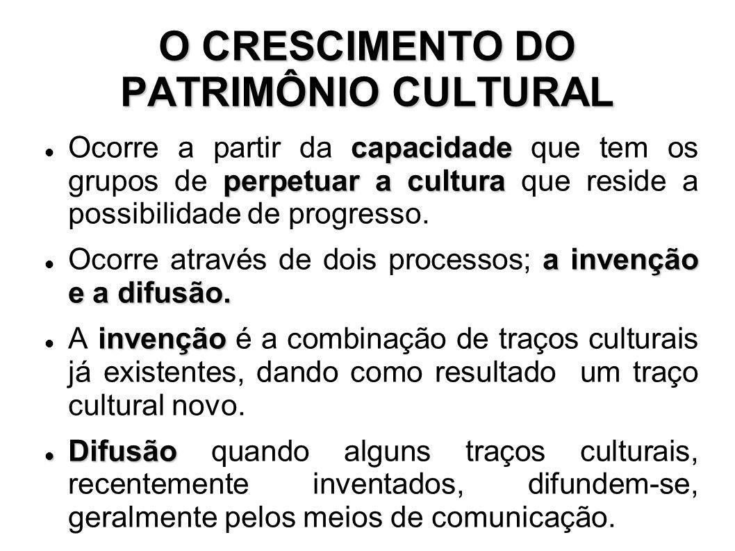 O CRESCIMENTO DO PATRIMÔNIO CULTURAL capacidade perpetuar a cultura Ocorre a partir da capacidade que tem os grupos de perpetuar a cultura que reside a possibilidade de progresso.