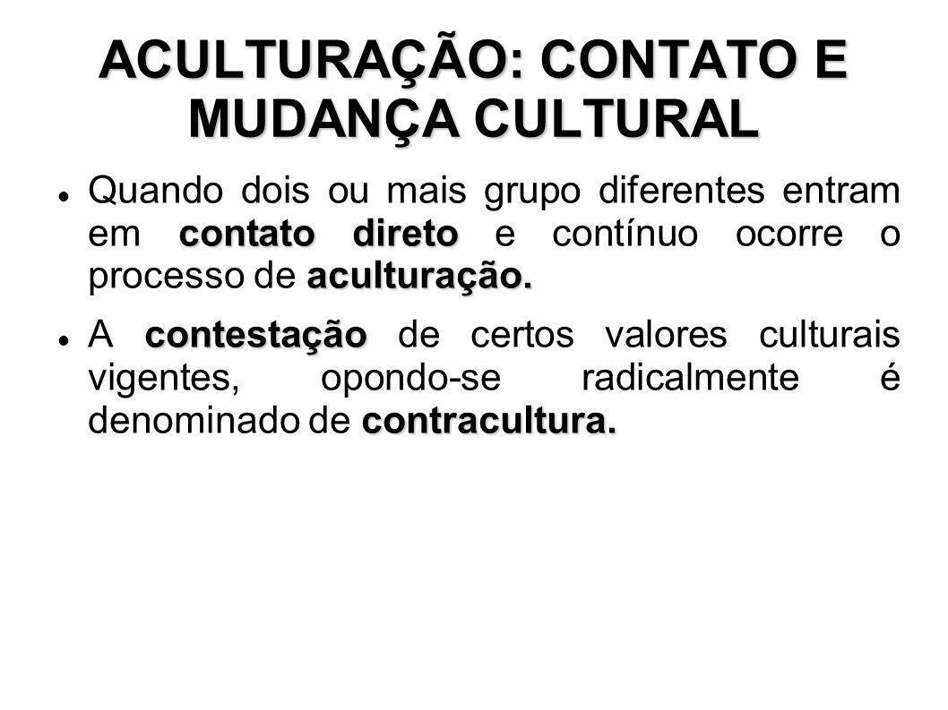 ACULTURAÇÃO: CONTATO E MUDANÇA CULTURAL contato direto aculturação. Quando dois ou mais grupo diferentes entram em contato direto e contínuo ocorre o