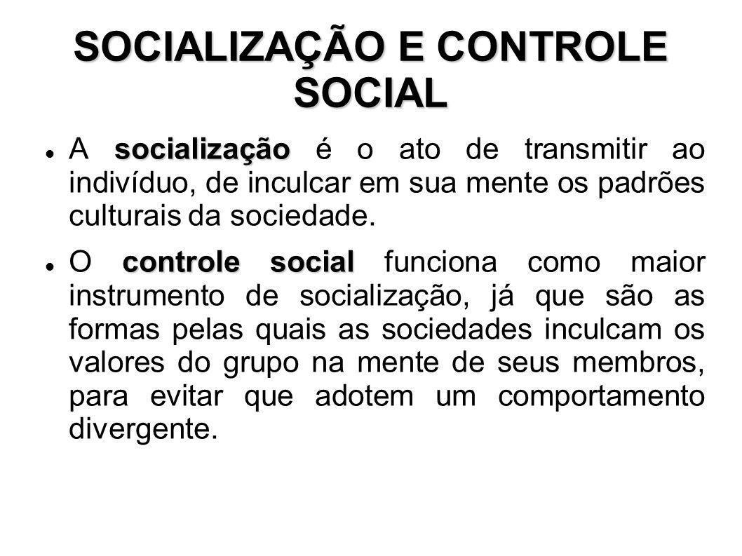 SOCIALIZAÇÃO E CONTROLE SOCIAL socialização A socialização é o ato de transmitir ao indivíduo, de inculcar em sua mente os padrões culturais da socied