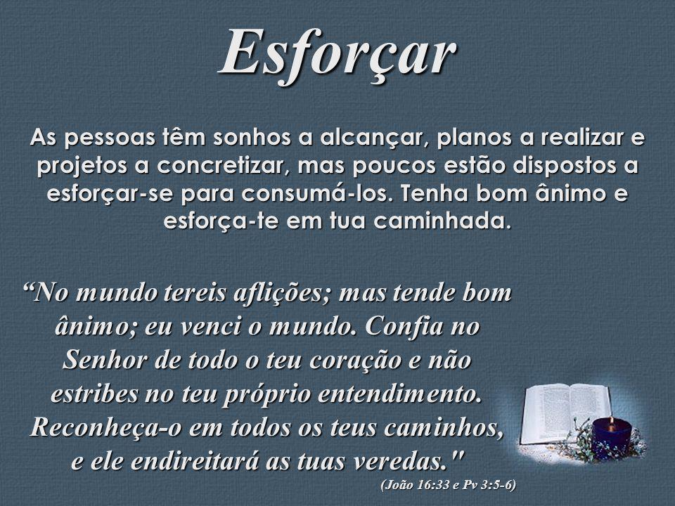 Feito por Luana Rodrigues – luannarj@uol.com.br Esforçar As pessoas têm sonhos a alcançar, planos a realizar e projetos a concretizar, mas poucos estã