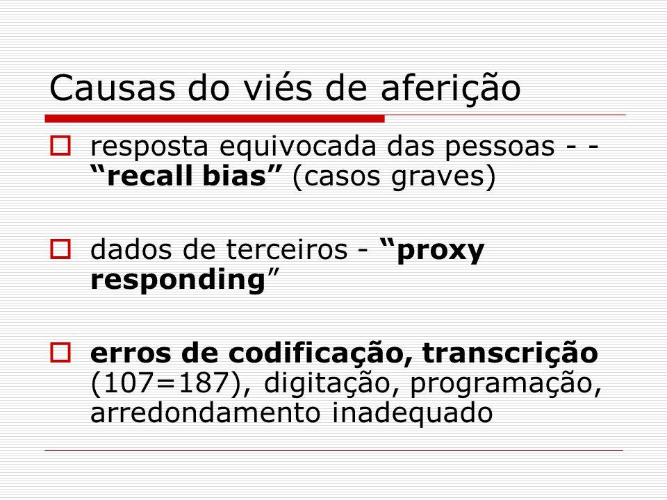 Causas do viés de aferição resposta equivocada das pessoas - - recall bias (casos graves) dados de terceiros - proxy responding erros de codificação,