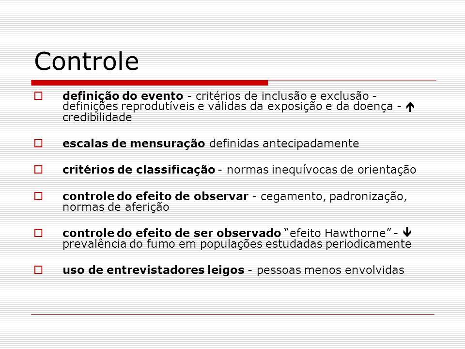 Controle definição do evento - critérios de inclusão e exclusão - definições reprodutíveis e válidas da exposição e da doença - credibilidade escalas