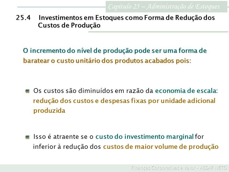 Capítulo 25 – Administração de Estoques 25.4Investimentos em Estoques como Forma de Redução dos Custos de Produção Custos de Produção Os custos são di
