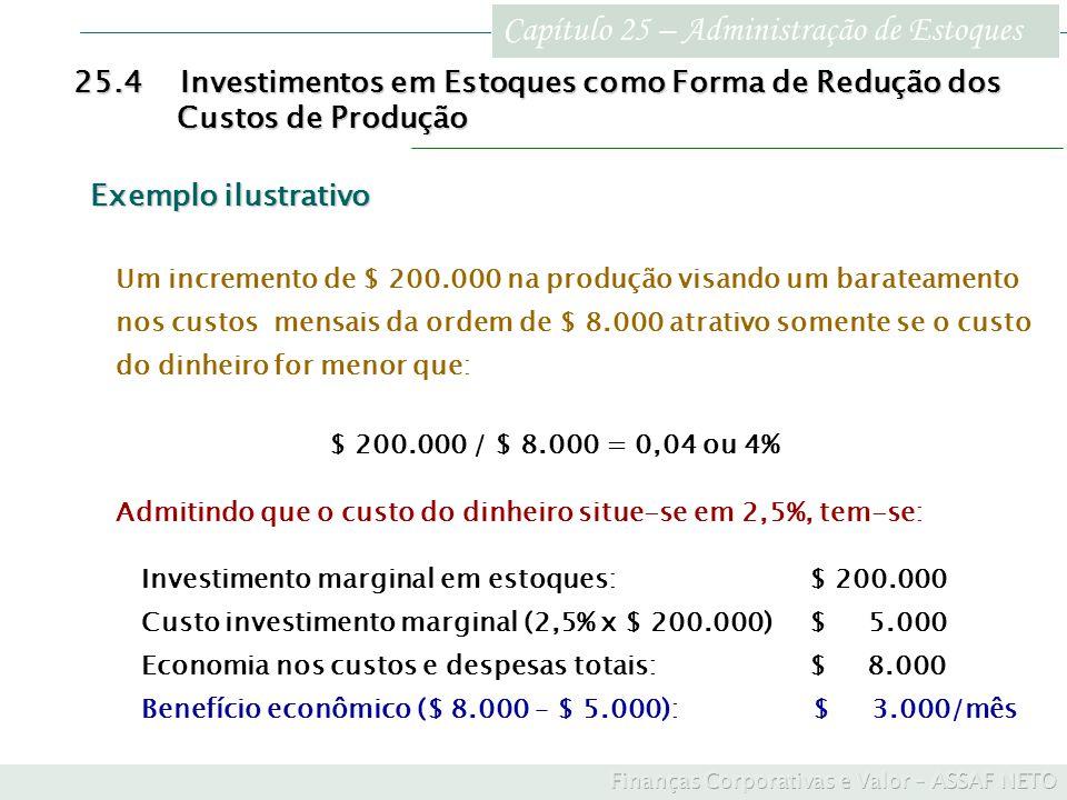 Capítulo 25 – Administração de Estoques 25.4Investimentos em Estoques como Forma de Redução dos Custos de Produção Custos de Produção Exemplo ilustrat