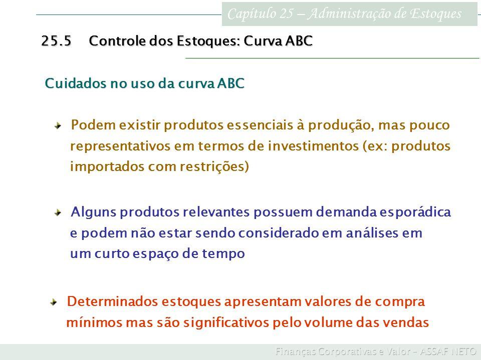 Capítulo 25 – Administração de Estoques 25.5Controle dos Estoques: Curva ABC Alguns produtos relevantes possuem demanda esporádica e podem não estar s
