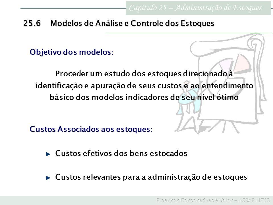 Capítulo 25 – Administração de Estoques 25.6Modelos de Análise e Controle dos Estoques Custos Associados aos estoques: Custos efetivos dos bens estoca