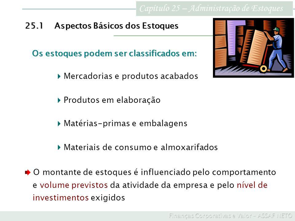 Capítulo 25 – Administração de Estoques 25.4Investimentos em Estoques como Forma de Redução dos Custos de Produção Custos de Produção Exemplo ilustrativo Um incremento de $ 200.000 na produção visando um barateamento nos custos mensais da ordem de $ 8.000 atrativo somente se o custo do dinheiro for menor que: $ 200.000 / $ 8.000 = 0,04 ou 4% Admitindo que o custo do dinheiro situe-se em 2,5%, tem-se: Investimento marginal em estoques: $ 200.000 Custo investimento marginal (2,5% x $ 200.000) $ 5.000 Economia nos custos e despesas totais: $ 8.000 Benefício econômico ($ 8.000 – $ 5.000): $ 3.000/mês