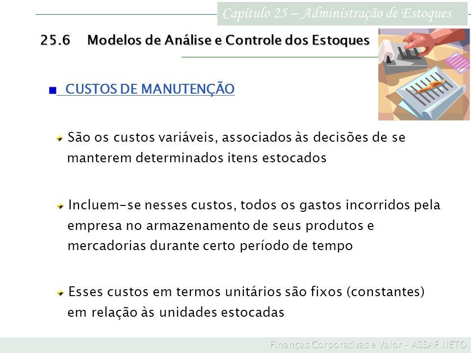 Capítulo 25 – Administração de Estoques 25.6Modelos de Análise e Controle dos Estoques CUSTOS DE MANUTENÇÃO São os custos variáveis, associados às dec
