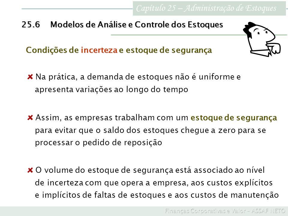 Capítulo 25 – Administração de Estoques 25.6Modelos de Análise e Controle dos Estoques Condições de incerteza e estoque de segurança Na prática, a dem