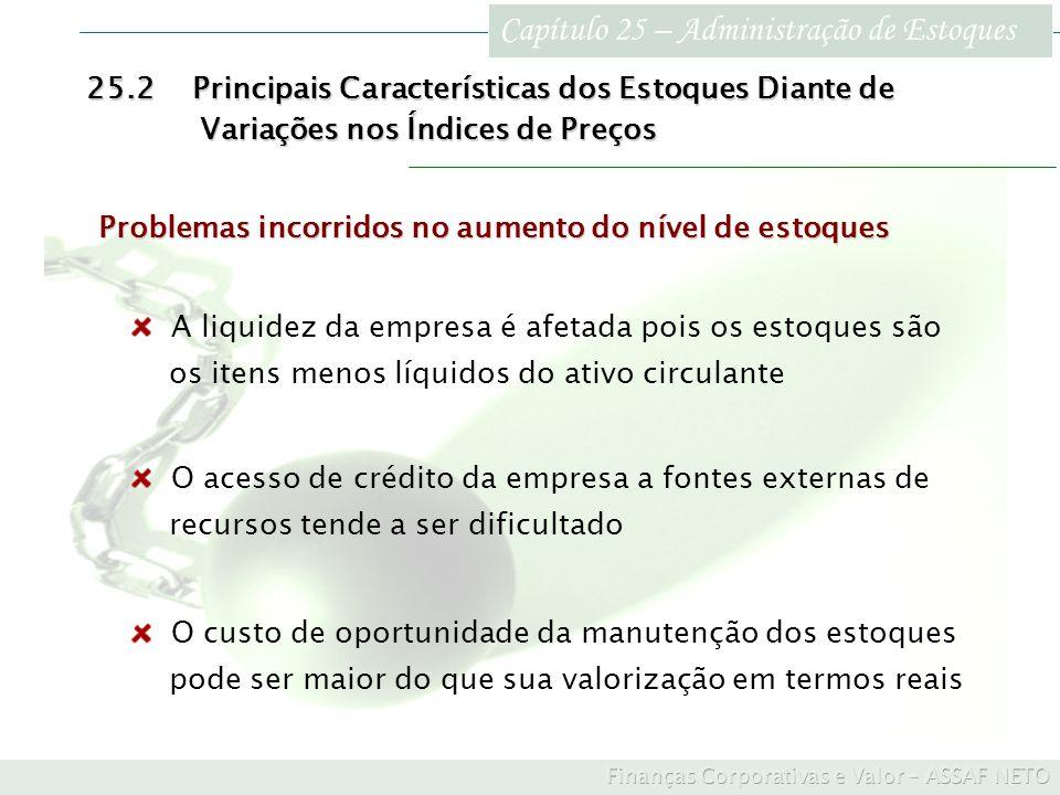 Capítulo 25 – Administração de Estoques 25.2Principais Características dos Estoques Diante de Variações nos Índices de Preços Variações nos Índices de