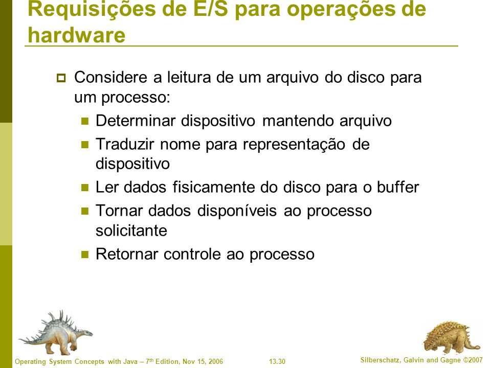 13.30 Silberschatz, Galvin and Gagne ©2007 Operating System Concepts with Java – 7 th Edition, Nov 15, 2006 Requisições de E/S para operações de hardw