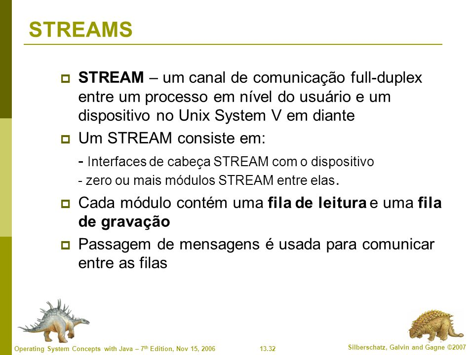 13.32 Silberschatz, Galvin and Gagne ©2007 Operating System Concepts with Java – 7 th Edition, Nov 15, 2006 STREAMS STREAM – um canal de comunicação f