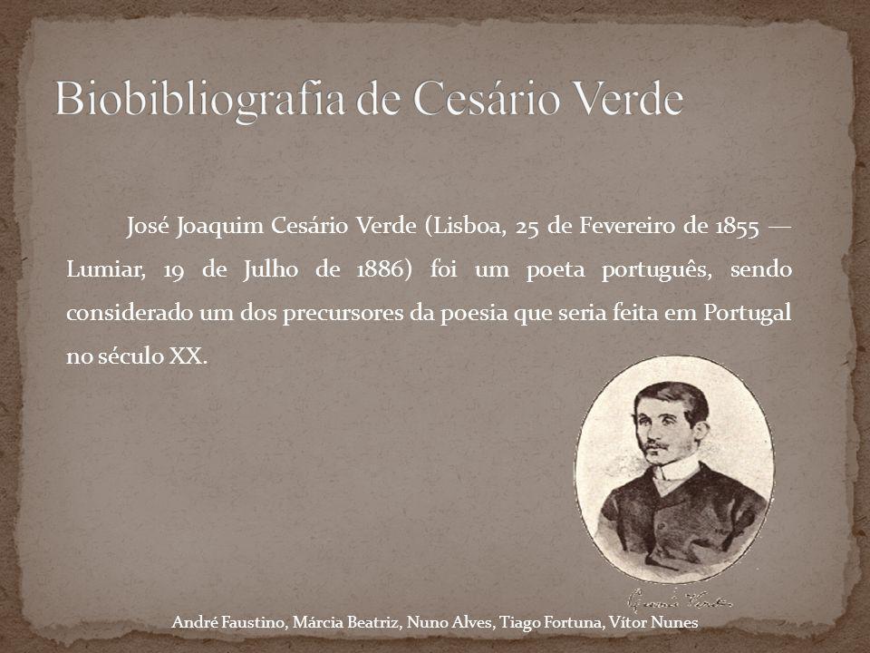 Filho do lavrador e comerciante José Anastácio Verde e de Maria da Piedade dos Santos Verde, Cesário matriculou-se no Curso Superior de Letras em 1873, mas apenas o frequentou alguns meses.