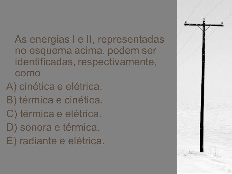 As energias I e II, representadas no esquema acima, podem ser identificadas, respectivamente, como A) cinética e elétrica. B) térmica e cinética. C) t