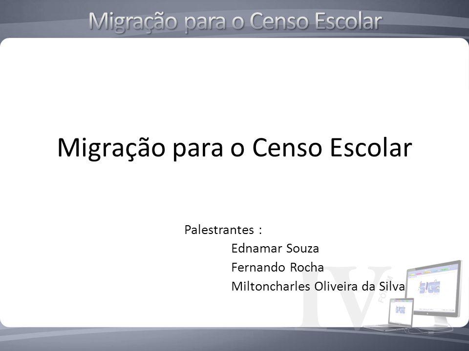 Migração para o Censo Escolar Palestrantes : Ednamar Souza Fernando Rocha Miltoncharles Oliveira da Silva