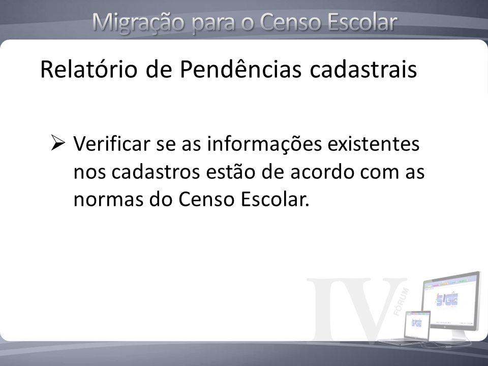 Relatório de Pendências cadastrais Verificar se as informações existentes nos cadastros estão de acordo com as normas do Censo Escolar.