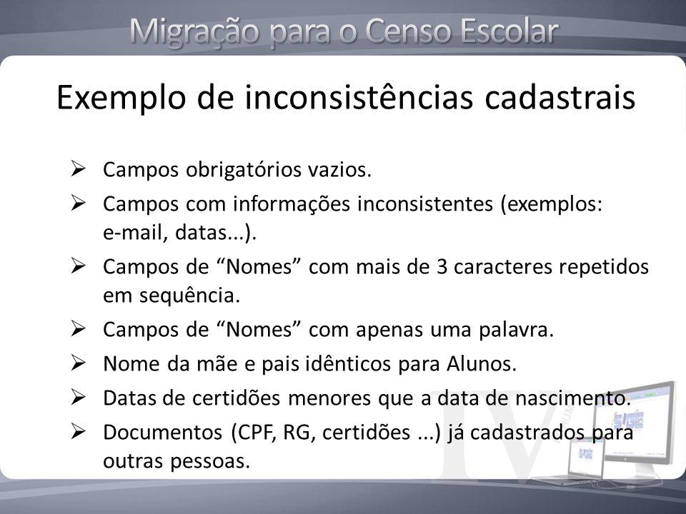 Exemplo de inconsistências cadastrais Campos obrigatórios vazios. Campos com informações inconsistentes (exemplos: e-mail, datas...). Campos de Nomes