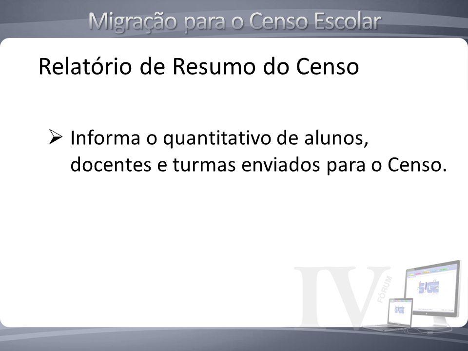 Relatório de Resumo do Censo Informa o quantitativo de alunos, docentes e turmas enviados para o Censo.