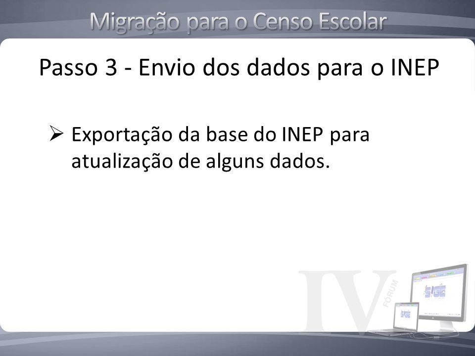 Passo 3 - Envio dos dados para o INEP Exportação da base do INEP para atualização de alguns dados.
