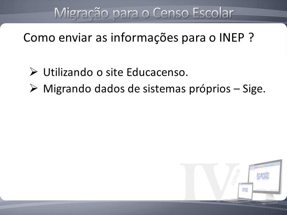 Como enviar as informações para o INEP ? Utilizando o site Educacenso. Migrando dados de sistemas próprios – Sige.