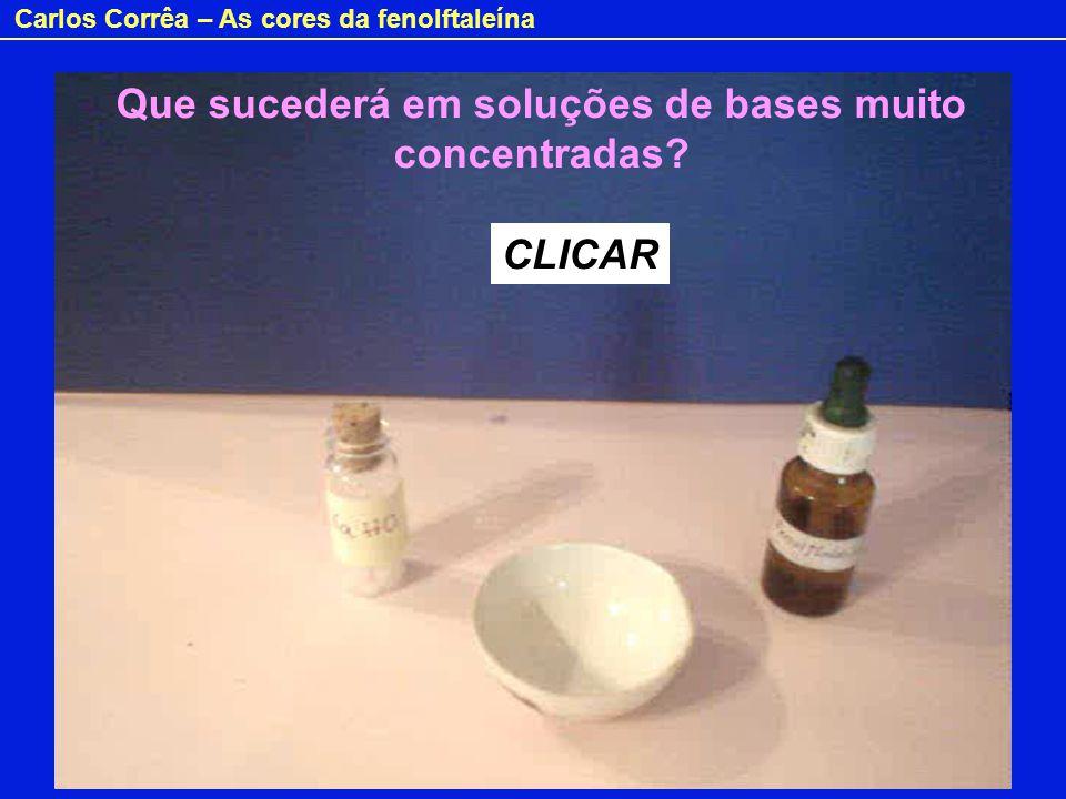 Carlos Corrêa – As cores da fenolftaleína Em meio fortemente alcalino, o carbono central da fenolftaleína é atacado por iões hidróxido: max = 555 nm max = 298 nm ROSA