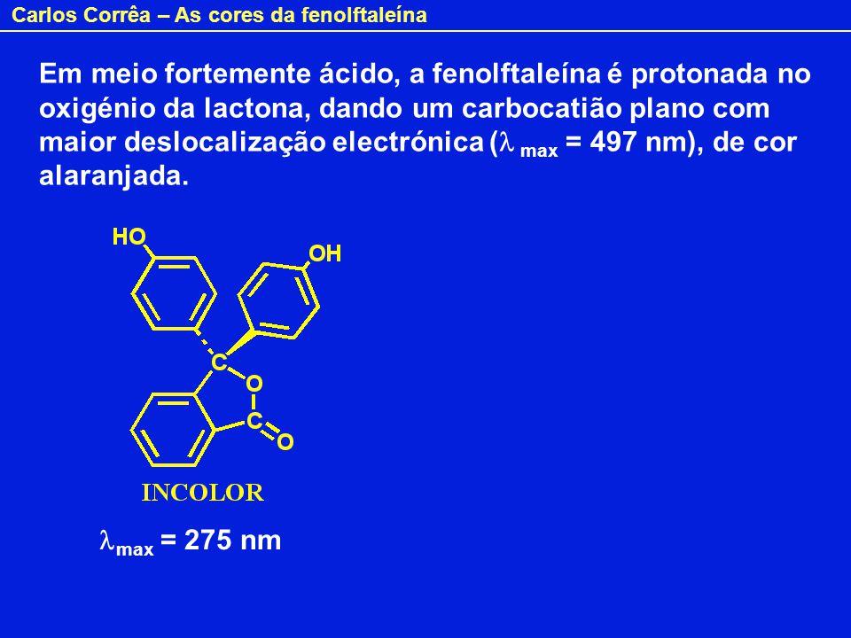 Carlos Corrêa – As cores da fenolftaleína Em resumo: Fenolftaleína Soluções diluidas: Meio alcalino – Carmim Meio ácido / neutro – Incolor Soluções muito concentradas: Meio alcalino – Incolor Meio ácido – Laranja