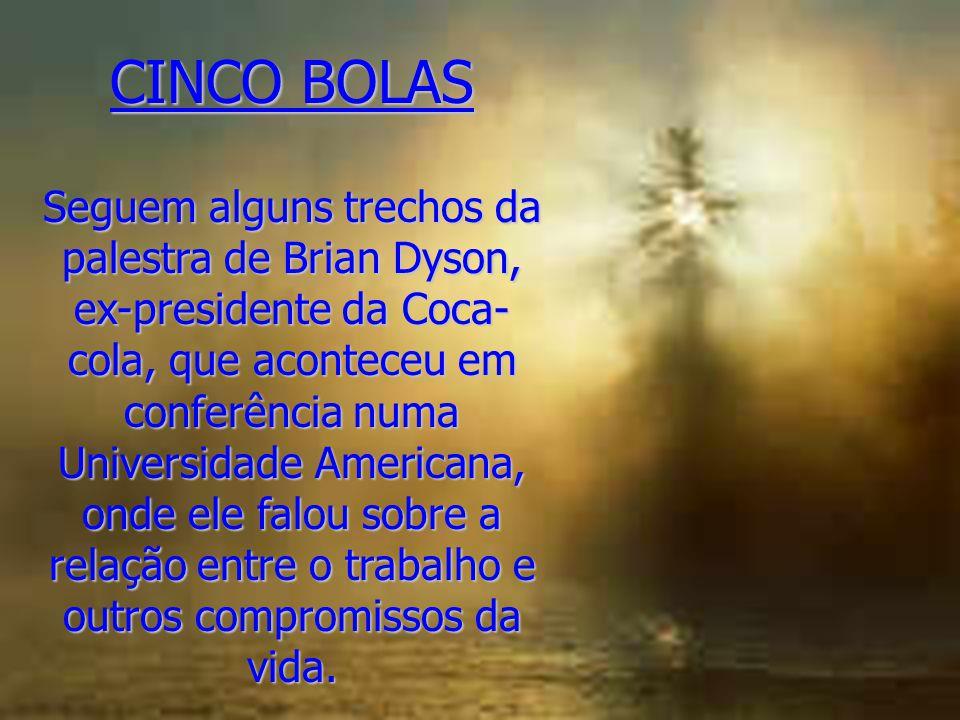 CINCO BOLAS Seguem alguns trechos da palestra de Brian Dyson, ex-presidente da Coca- cola, que aconteceu em conferência numa Universidade Americana, o