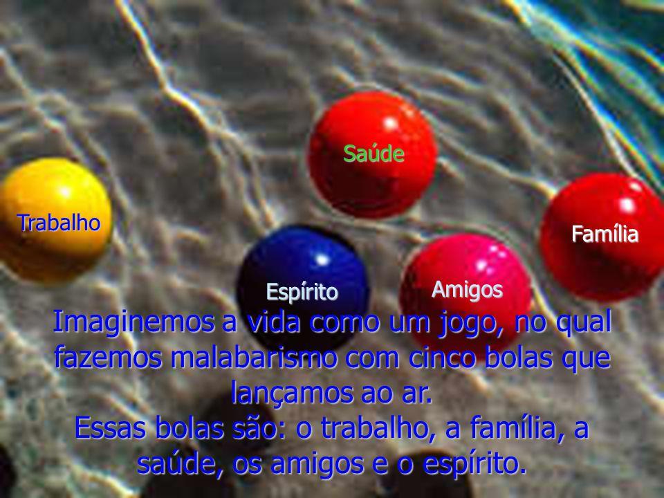 Imaginemos a vida como um jogo, no qual fazemos malabarismo com cinco bolas que lançamos ao ar. Essas bolas são: o trabalho, a família, a saúde, os am