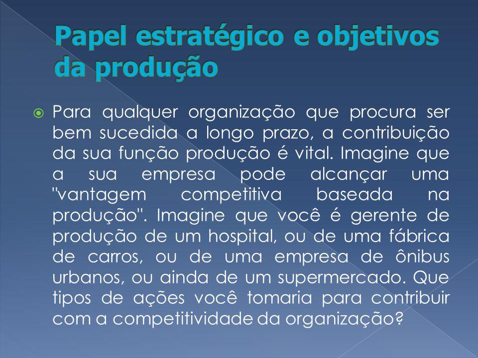 Para qualquer organização que procura ser bem sucedida a longo prazo, a contribuição da sua função produção é vital.