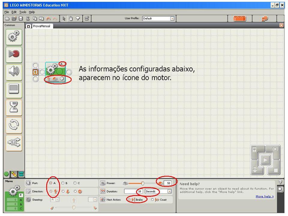 As informações configuradas abaixo, aparecem no ícone do motor.