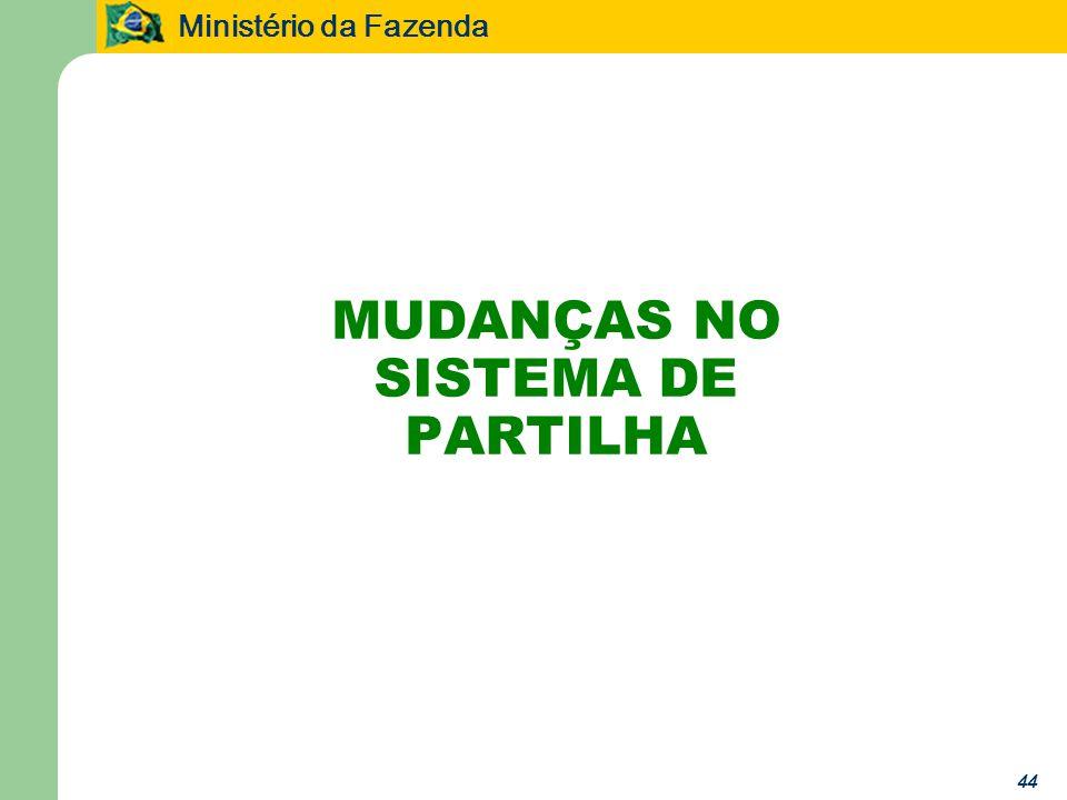 Ministério da Fazenda 44 MUDANÇAS NO SISTEMA DE PARTILHA