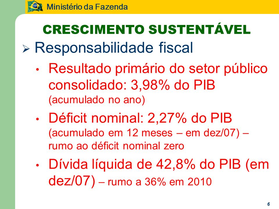 Ministério da Fazenda Responsabilidade fiscal Resultado primário do setor público consolidado: 3,98% do PIB (acumulado no ano) Déficit nominal: 2,27% do PIB (acumulado em 12 meses – em dez/07) – rumo ao déficit nominal zero Dívida líquida de 42,8% do PIB (em dez/07) – rumo a 36% em 2010 CRESCIMENTO SUSTENTÁVEL 6