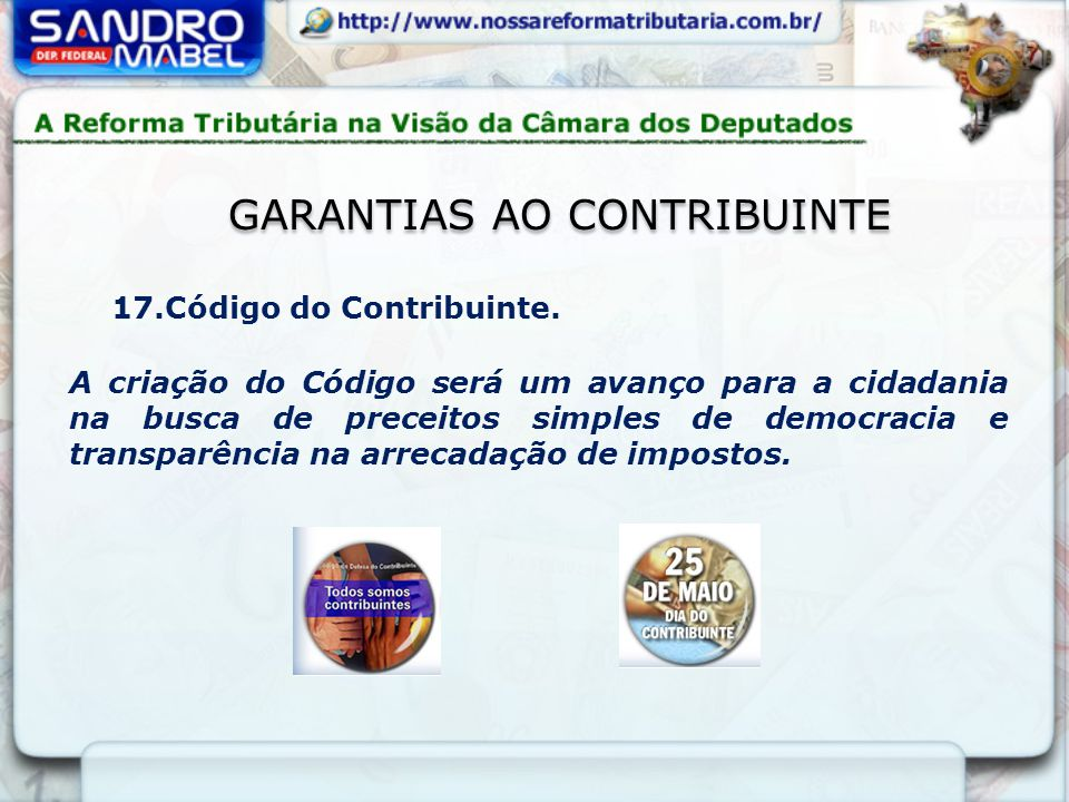 GARANTIAS AO CONTRIBUINTE 17.Código do Contribuinte.