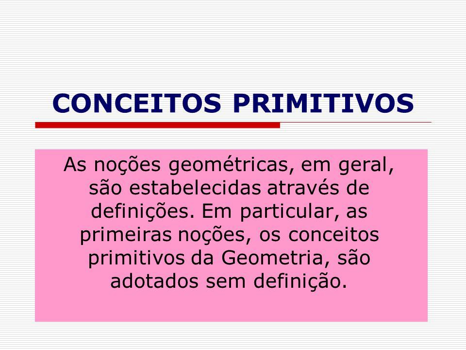 CONCEITOS PRIMITIVOS As noções geométricas, em geral, são estabelecidas através de definições.