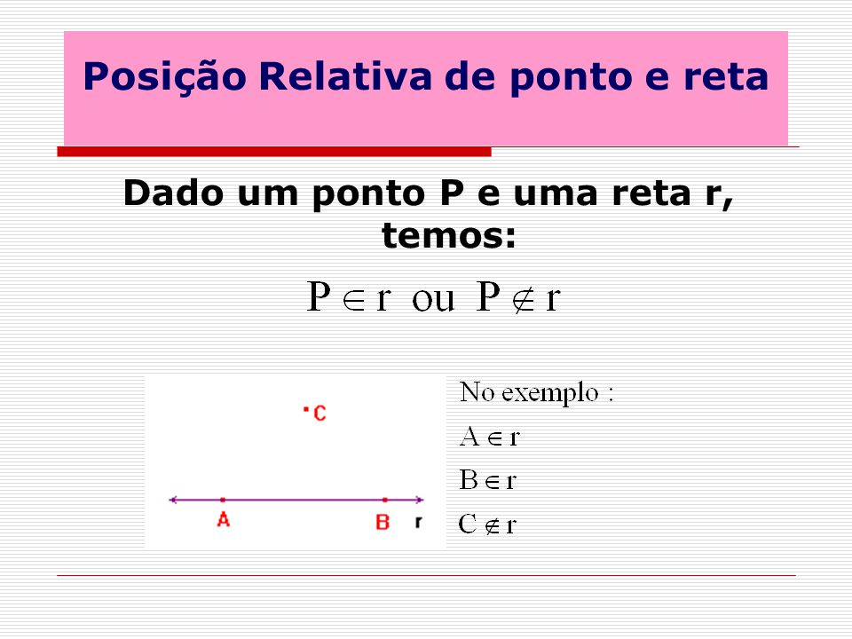 Posição Relativa de ponto e reta Dado um ponto P e uma reta r, temos: