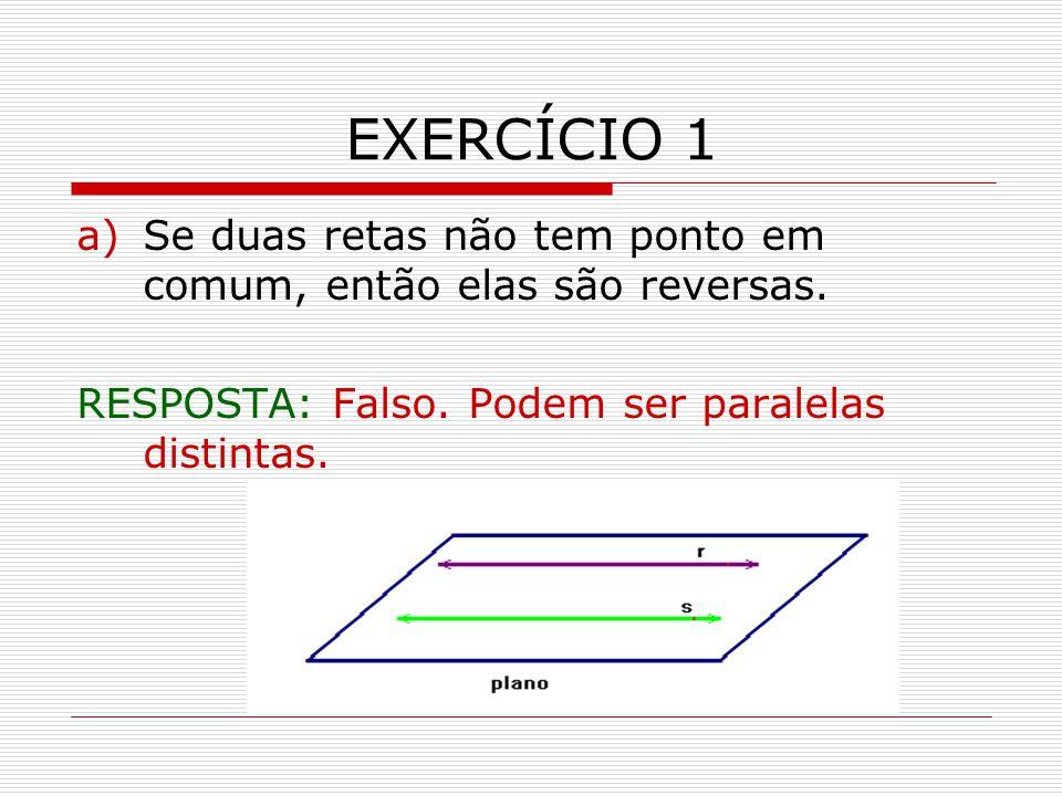 EXERCÍCIO 1 a)Se duas retas não tem ponto em comum, então elas são reversas.