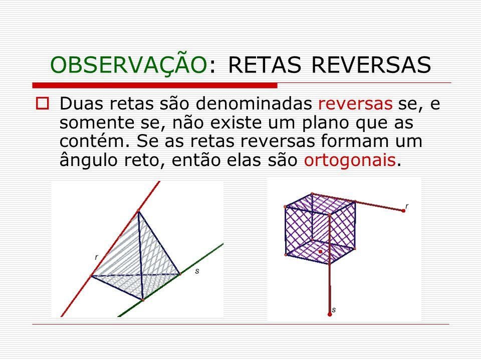 OBSERVAÇÃO: RETAS REVERSAS Duas retas são denominadas reversas se, e somente se, não existe um plano que as contém.