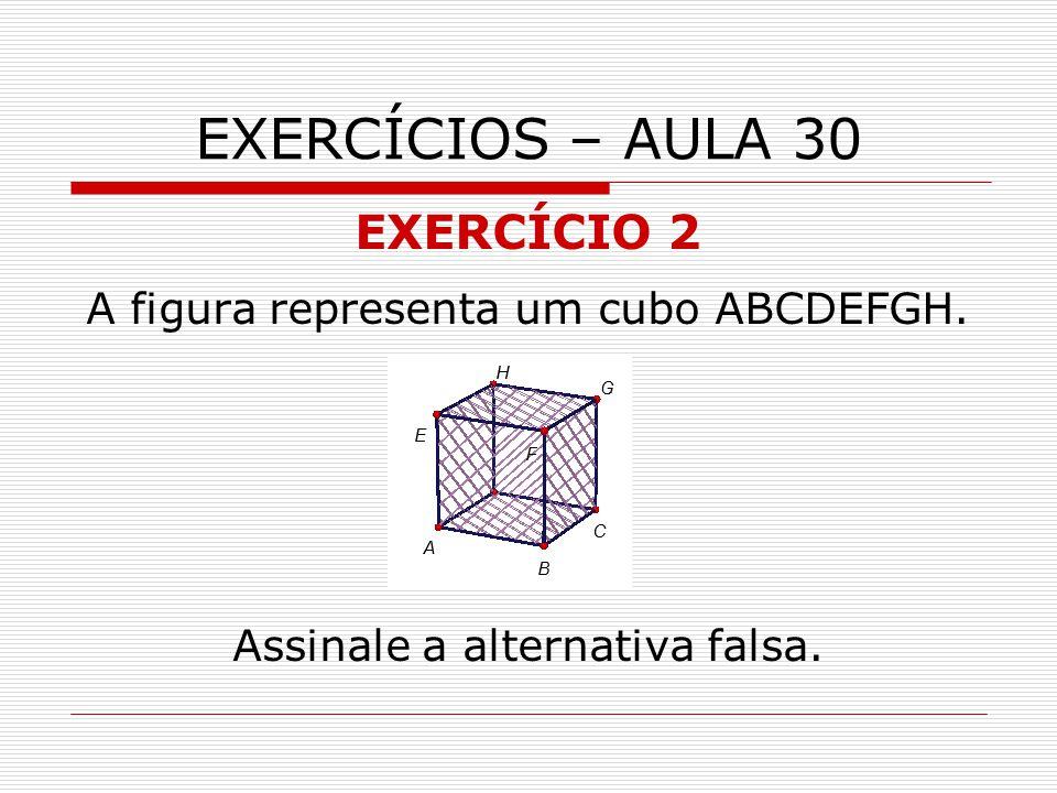 EXERCÍCIOS – AULA 30 EXERCÍCIO 2 A figura representa um cubo ABCDEFGH.