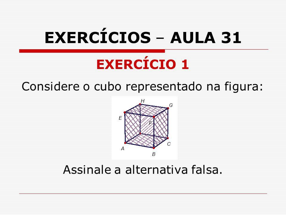 EXERCÍCIOS – AULA 31 EXERCÍCIO 1 Considere o cubo representado na figura: Assinale a alternativa falsa.