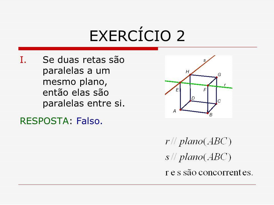 EXERCÍCIO 2 I.Se duas retas são paralelas a um mesmo plano, então elas são paralelas entre si.