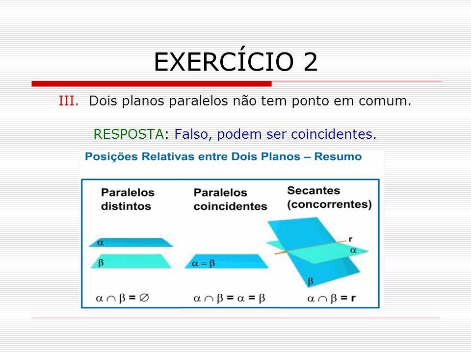 EXERCÍCIO 2 III.Dois planos paralelos não tem ponto em comum.