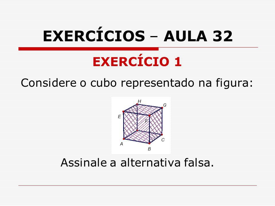 EXERCÍCIOS – AULA 32 EXERCÍCIO 1 Considere o cubo representado na figura: Assinale a alternativa falsa.