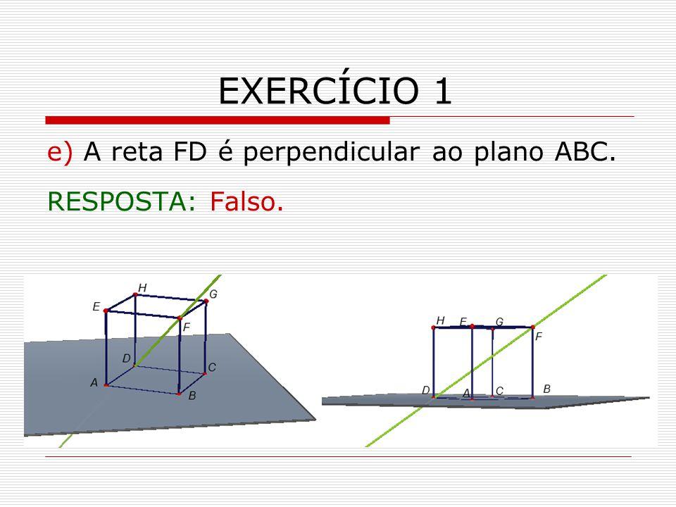 EXERCÍCIO 1 e) A reta FD é perpendicular ao plano ABC. RESPOSTA: Falso.