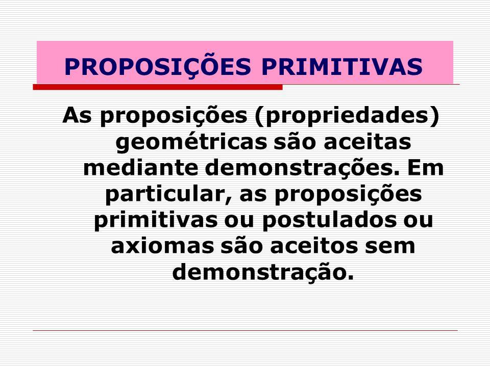 PROPOSIÇÕES PRIMITIVAS As proposições (propriedades) geométricas são aceitas mediante demonstrações.