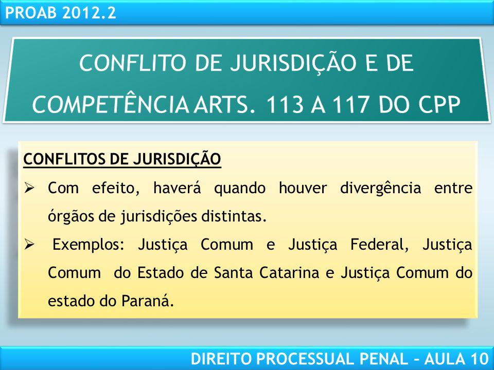 RESPONSABILIDADE CIVIL AULA 1 PROAB 2012.2 DIREITO PROCESSUAL PENAL – AULA 10 CONFLITO DE COMPETÊNCIA Ocorre entre dois ou mais órgãos da mesma Justiça.